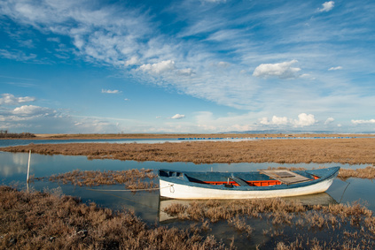 natural sights - Landscape with traditional wooden boat in Axios Delta, near Thessaloniki, Greece. Axios or Vardar is the second largest river in the Balkans.