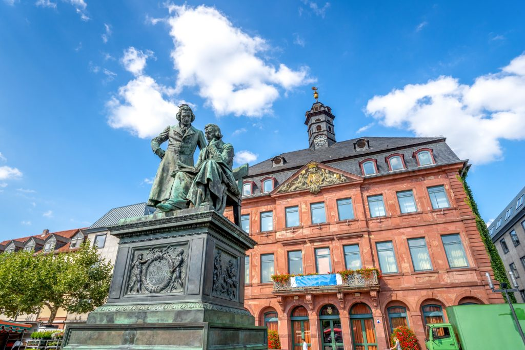 Brothers Grimm statue in Hanau, in the Black Forest region of Germany