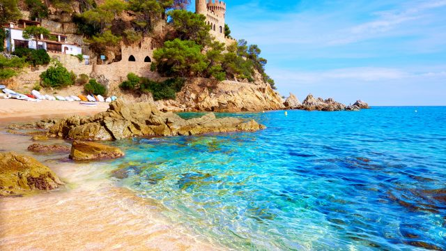Sa Caleta beach in the resort of Lloret de Mar; Spanish Costas; Costa Brava